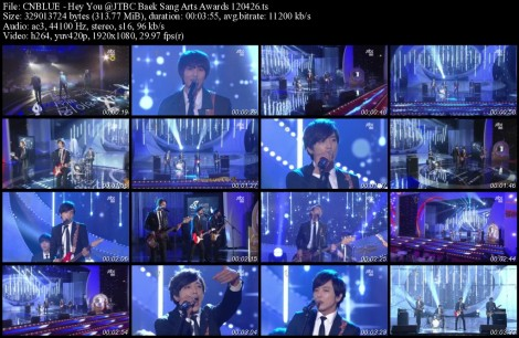 CNBLUE - Hey You @JTBC Baek Sang Arts Awards 120426
