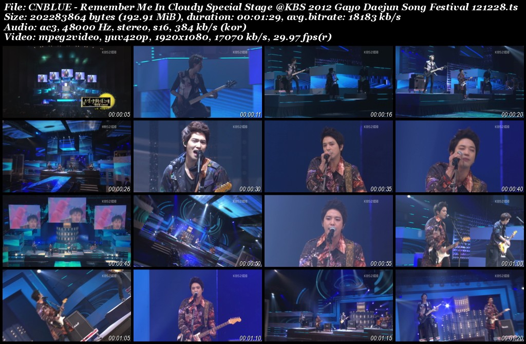 CNBLUE - Remember Me In Cloudy Special Stage @KBS 2012 Gayo Daejun Song Festival 121228