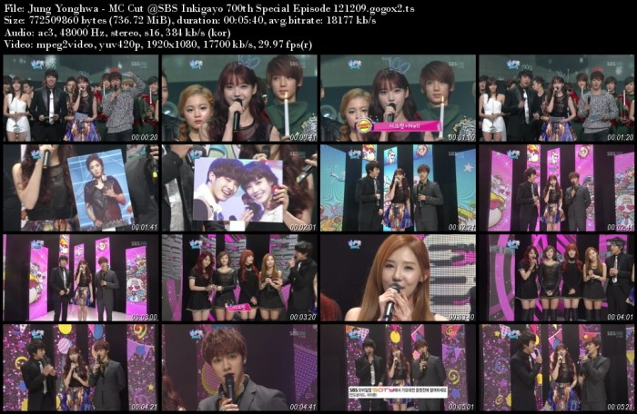 Jung Yonghwa - MC Cut @SBS Inkigayo 700th Special Episode 121209.gogox2