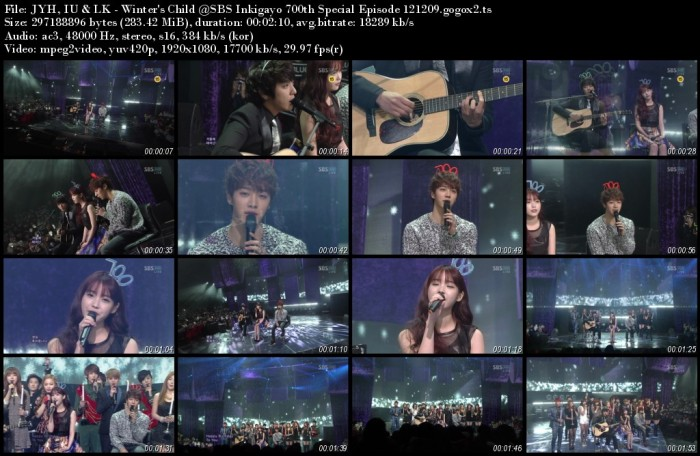 JYH, IU & LK - Winter's Child @SBS Inkigayo 700th Special Episode 121209.gogox2