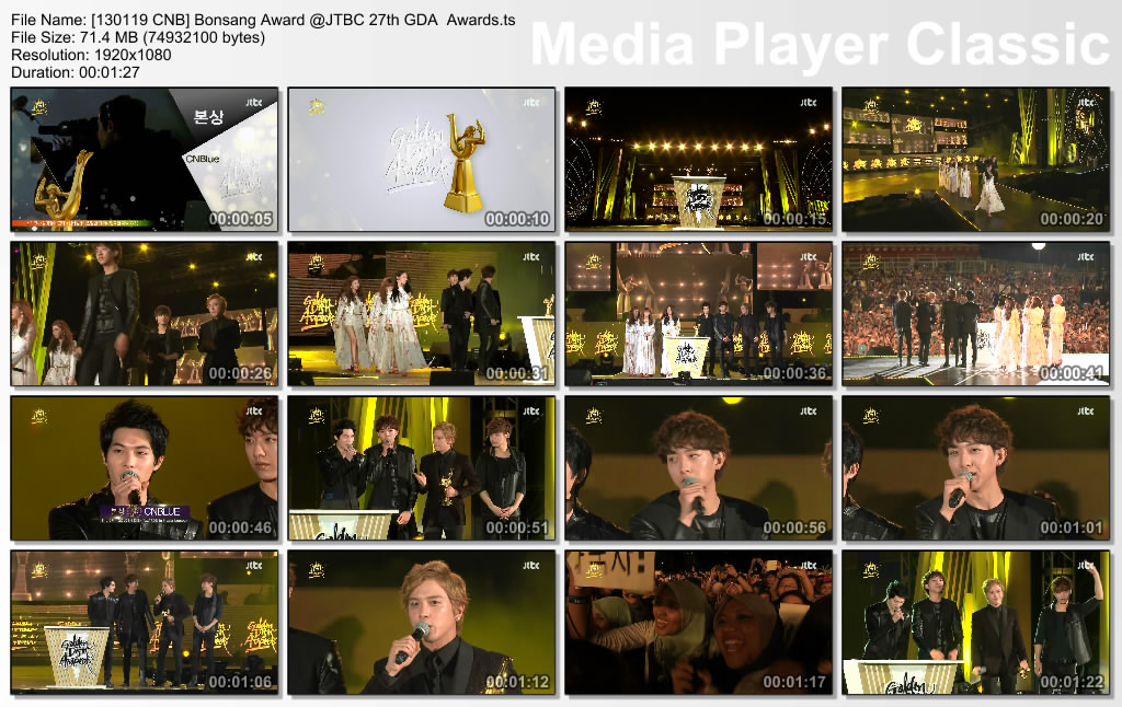 [130119 CNB] Bonsang Award @JTBC 27th GDA  Awards