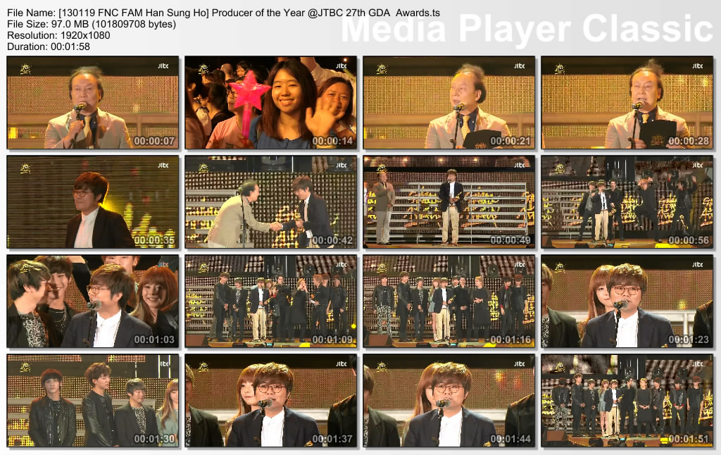 [130119 FNC FAM Han Sung Ho] Producer of the Year @JTBC 27th GDA  Awards
