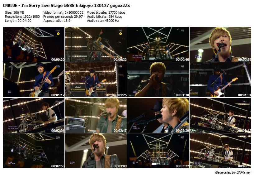CNBLUE - I'm Sorry Live Stage @SBS Inkigoyo 130127 gogox2