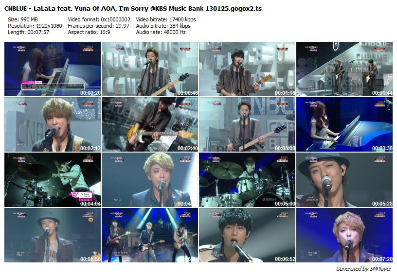 CNBLUE - LaLaLa feat. Yuna Of AOA, I'm Sorry @KBS Music Bank 130125.gogox2