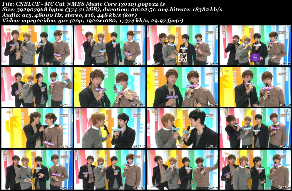CNBLUE - MC Cut @MBS Music Core 130119.gogox2