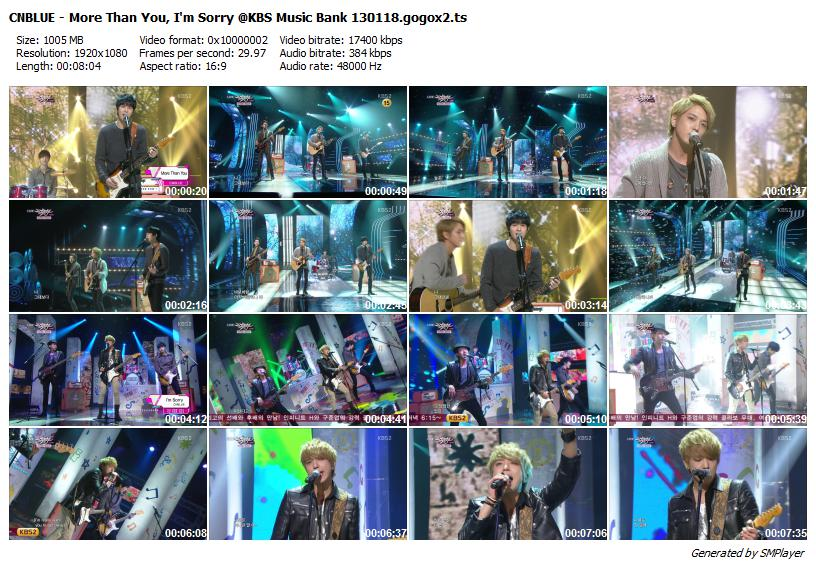 CNBLUE - More Than You, I'm Sorry @KBS Music Bank 130118.gogox2