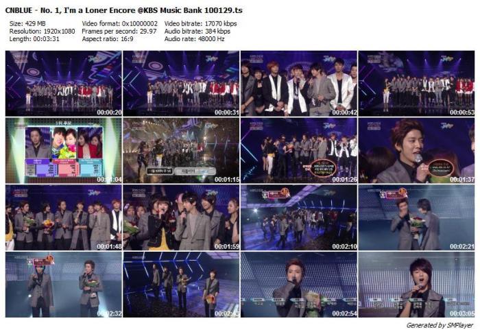 CNBLUE - No. 1, I'm a Loner Encore @KBS Music Bank 100129