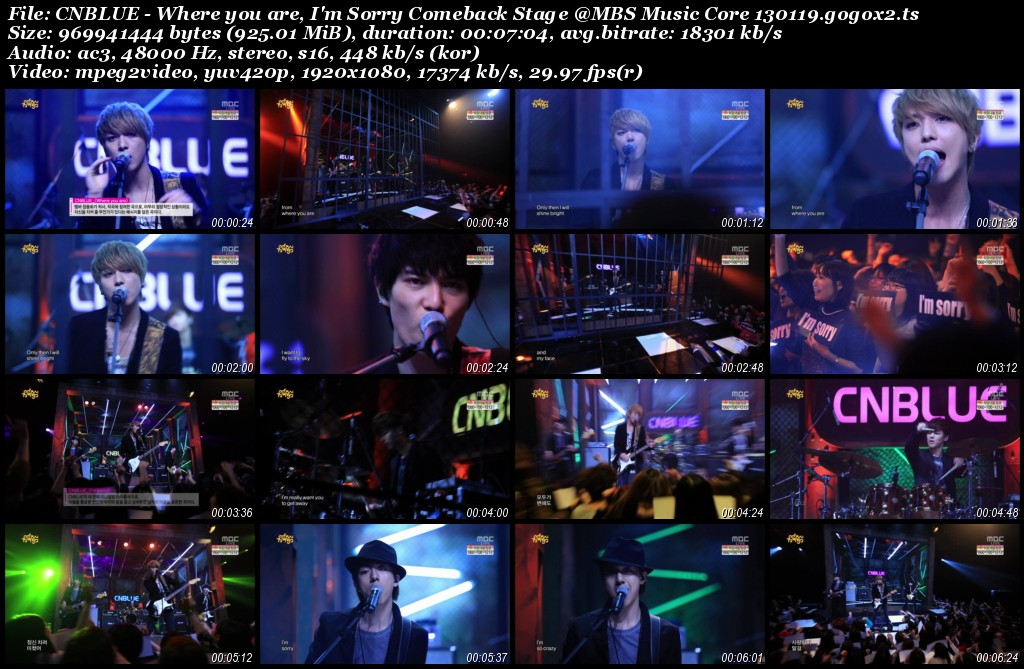 CNBLUE - Where you are, I'm Sorry Comeback Stage @MBS Music Core 130119.gogox2