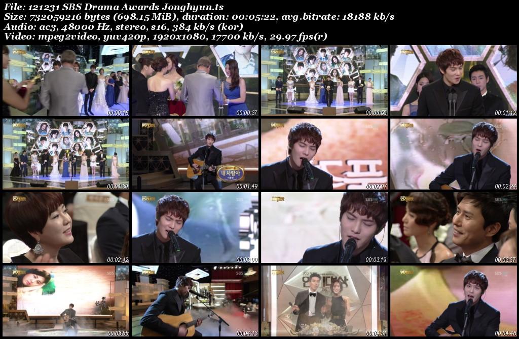 Lee Jonghyun Cut @SBS Drama Awards 121231