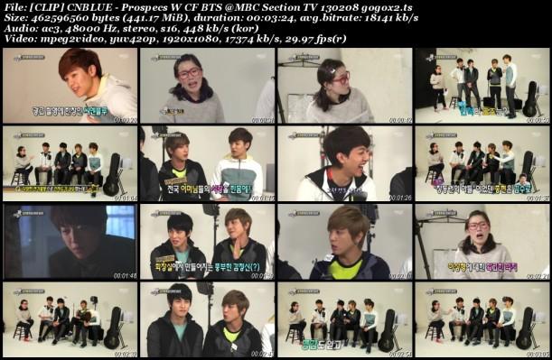 [CLIP] CNBLUE - Prospecs W CF BTS @MBC Section TV 130208 gogox2