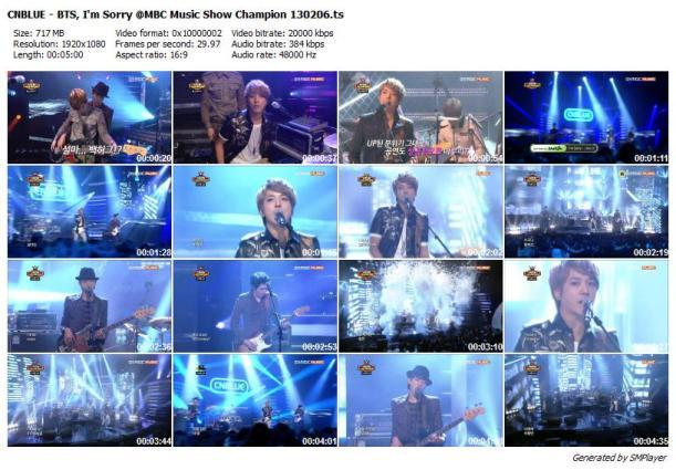 CNBLUE - BTS, I'm Sorry @MBC Music Show Champion 130206