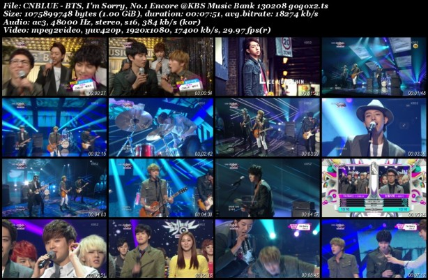 CNBLUE - BTS, I'm Sorry, No.1 Encore @KBS Music Bank 130208 gogox2