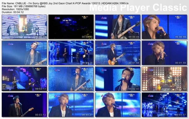CNBLUE - I'm Sorry @KBS Joy 2nd Gaon Chart K-POP Awards 130213