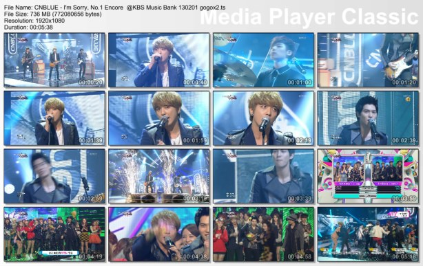 CNBLUE - I'm Sorry, No.1 Encore  @KBS Music Bank 130201 gogox2