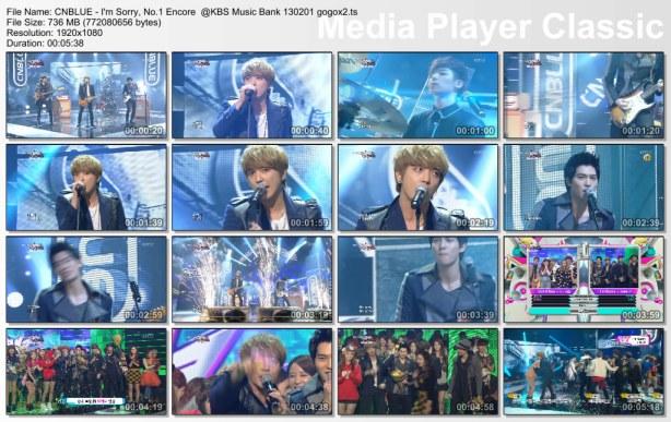 CNBLUE - I'm Sorry, No.1 Encore  @KBS Music Bank 130201 gogox2