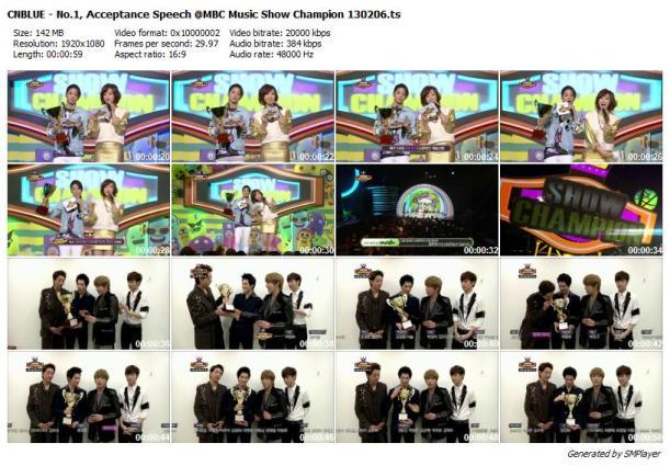 CNBLUE - No.1, Acceptance Speech @MBC Music Show Champion 130206_preview