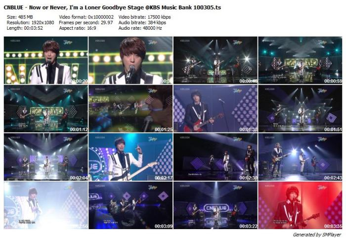 CNBLUE - Now or Never, I'm a Loner Goodbye Stage @KBS Music Bank 100305