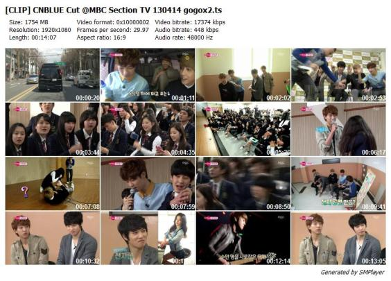 [CLIP] CNBLUE Cut @MBC Section TV 130414 gogox2